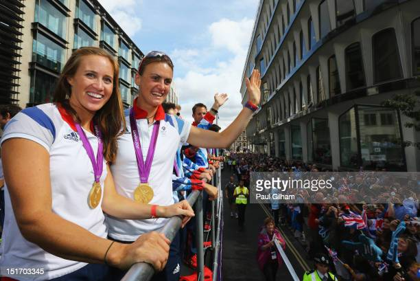 Women's Pair Rowing gold medallists Helen Glover and Heather Stanning take part in the London 2012 Victory Parade for Team GB and Paralympics GB...