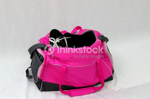 625c4bdb98 Womens Pink Duffle Bag Sports Shoes Pants And Equipment Stock Photo ...