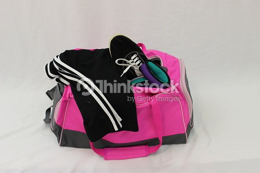 a2e553db8d Womens Pink Gym Bag Sports Shoes Pants And Exercise Equipment Stock ...