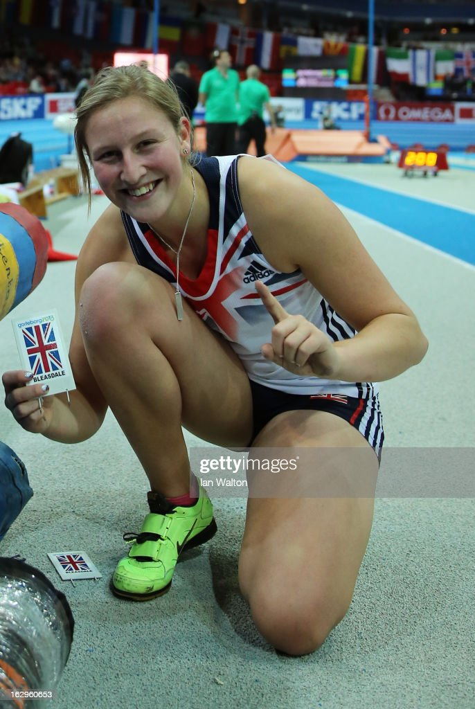 Women's Pole Vault gold medalist <a gi-track='captionPersonalityLinkClicked' href=/galleries/search?phrase=Holly+Bleasdale&family=editorial&specificpeople=5910118 ng-click='$event.stopPropagation()'>Holly Bleasdale</a> of Great Britain and Northern Ireland poses during day two of the European Athletics Indoor Championships at Scandinavium on March 2, 2013 in Gothenburg, Sweden.