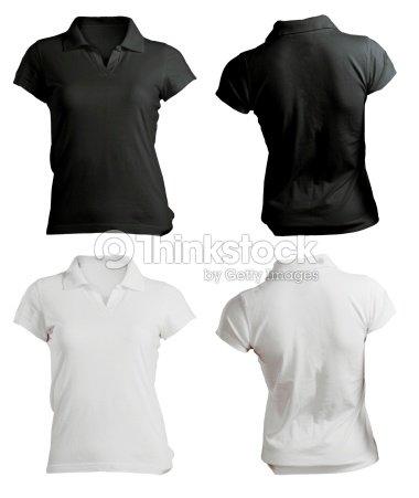 Damen Poloshirt Vorlage In Schwarz Und Weiß Der Vorder Und Rückseite ...