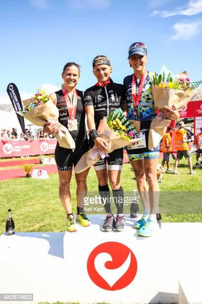 Women's Pro podium Yvonne van Vlerken the Netherlands 1st Laura Siddall 2nd Emma Bilham 3rd in the 2017 Challenge Wanaka on February 18 2017 in...