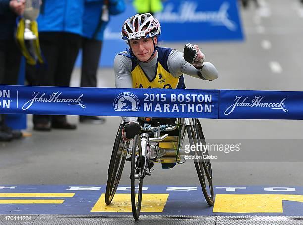 Womens push rim wheelchair division winner Tatyana McFadden crosses the finish line in Boston on April 20 2015