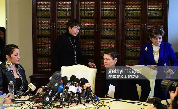 Women's rights attorney Gloria Allred arrives at a press conference in Los Angeles California on December 3 with three women who alleged they were...