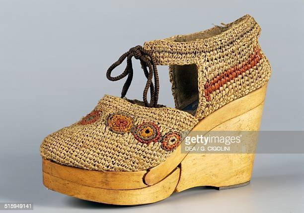 Women's sandal with wooden wedge made in Italy 1942 Italy 20th century Vigevano Castello Visconteo Sforzesco Museo Della Calzatura E Della Tecnica...