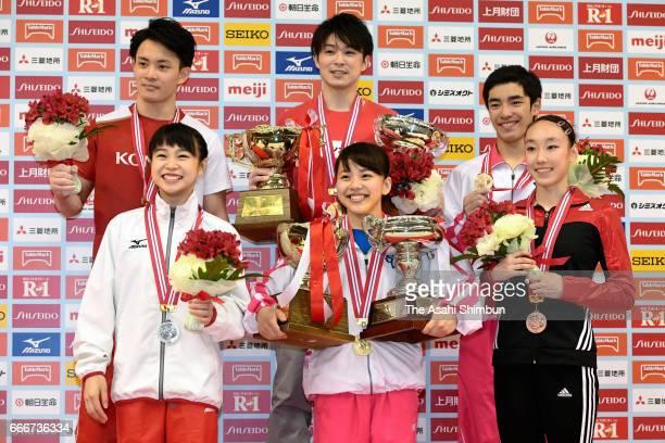 Women's silver medalist Aiko Sugihara gold medalist Mai Murakami and bronze medalist Nagi Kajita Men's silver medalist Yusuke Tanaka gold medalist...