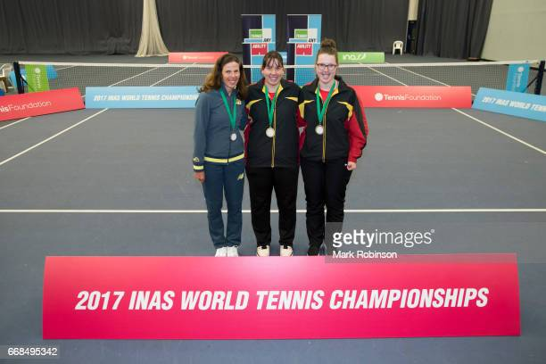 Women's singles medal ceremony bronze medal Lies Gielis of Belgium Silver medal Kelly Wren of Australia and Gold medal Hanne Lavreysen of Belgium at...