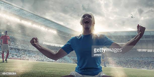Womens Soccer Player Celebrating After Scoring