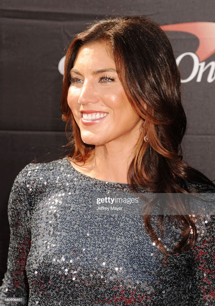 USA women's soccer player Hope Solo arrives at the The 2015 ESPYS at Microsoft Theater on July 15, 2015 in Los Angeles, California.