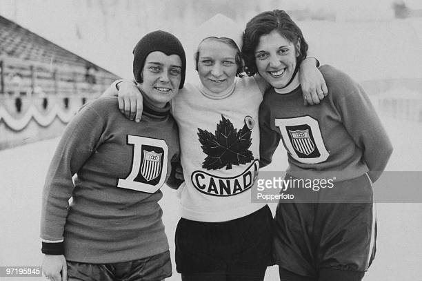 Women's speedskating gold medallists at the Winter Olympic Games at Lake Placid New York USA February 1932 Left to right Elizabeth Dubois of the USA...
