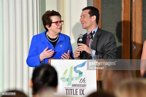 Women's Sports Foundation founder Billie Jean King and Brett Goodman speak onstage during the Women's Sports Foundation 45th Anniversary of Title IX...