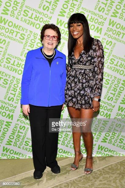 Women's Sports Foundation founder Billie Jean King and Cari Champion attend the Women's Sports Foundation 45th Anniversary of Title IX celebration at...