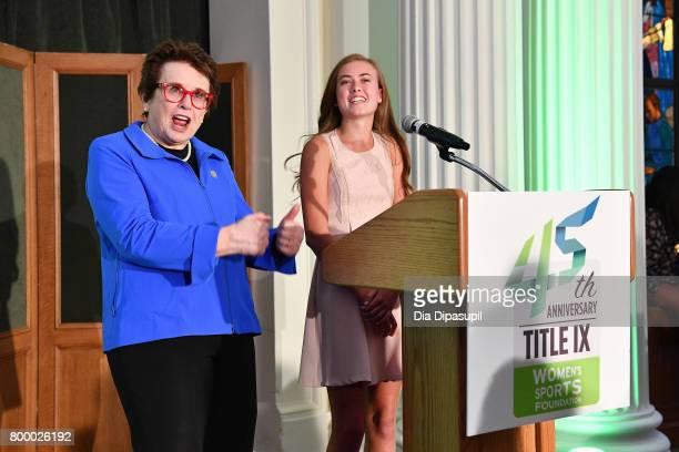 Women's Sports Foundation founder Billie Jean King and Kellen Richbourg speak onstage during the Women's Sports Foundation 45th Anniversary of Title...