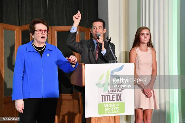 Women's Sports Foundation founder Billie Jean King Brett Goodman and Kellen Richbourg speak onstage during the Women's Sports Foundation 45th...