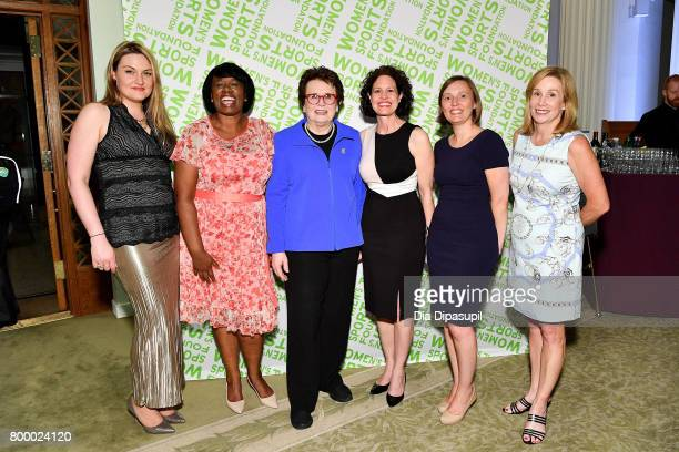 Women's Sports Foundation founder Billie Jean King poses with guests during the Women's Sports Foundation 45th Anniversary of Title IX celebration at...