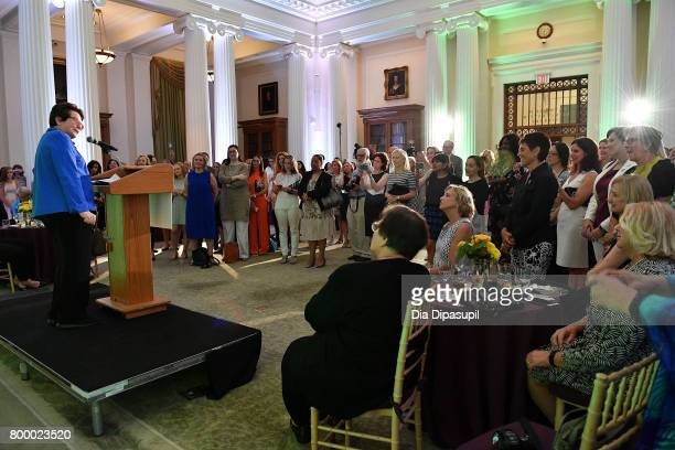 Women's Sports Foundation founder Billie Jean King speaks onstage during the Women's Sports Foundation 45th Anniversary of Title IX celebration at...