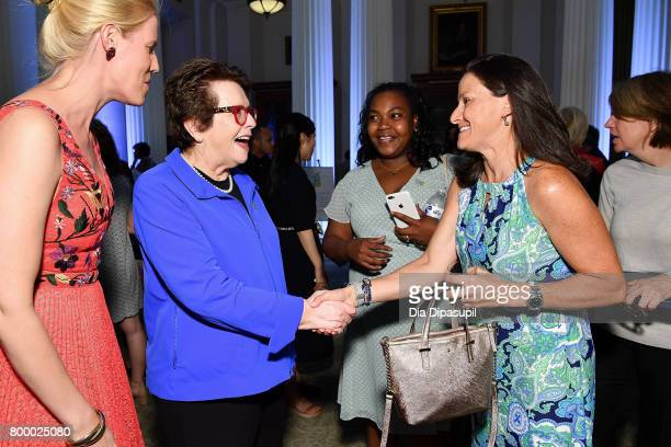Women's Sports Foundation founder Billie Jean King speaks with guests during the Women's Sports Foundation 45th Anniversary of Title IX celebration...