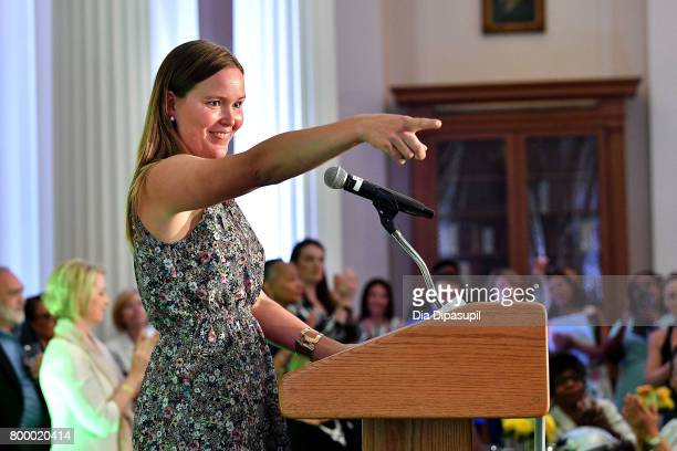 Women's Sports Foundation president Grete Eliassen speaks onstage during the Women's Sports Foundation 45th Anniversary of Title IX celebration at...