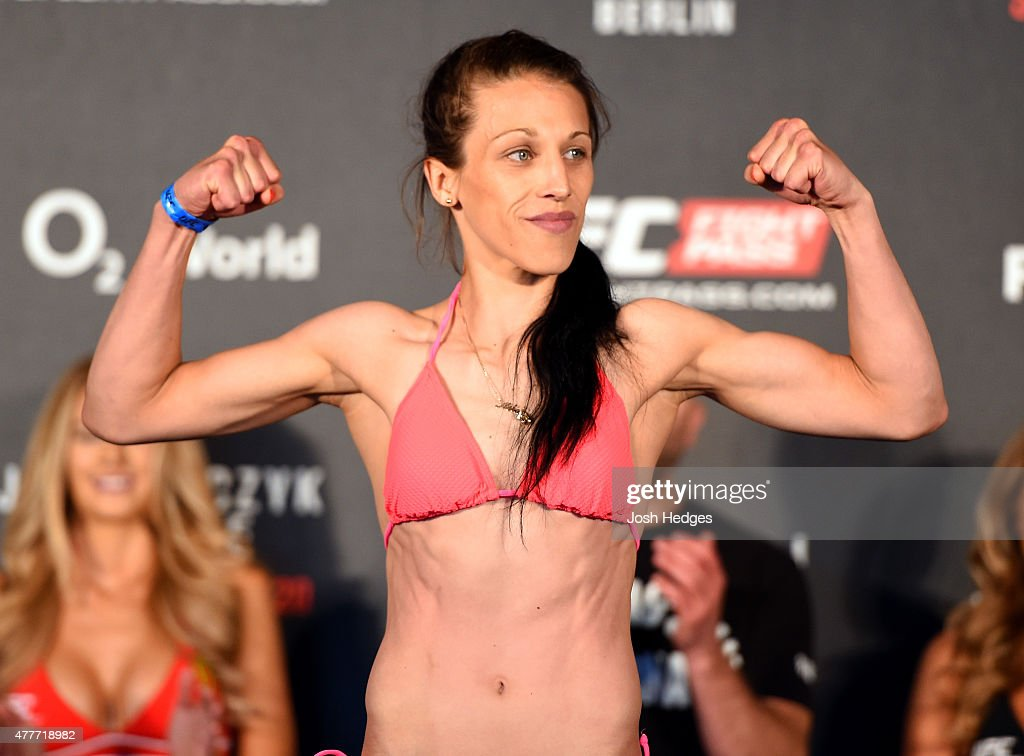 UFC women's strawweight champion Joanna Jedrzejczyk of Poland weighs in during the UFC Berlin weighin at the O2 World on June 19 2015 in Berlin...