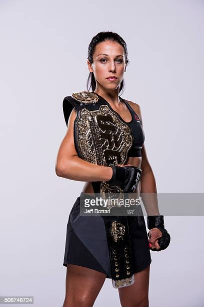 UFC women's strawweight champion Joanna Jedrzejczyk poses for a portrait during a UFC photo session on September 3 2015 in Las Vegas Nevada