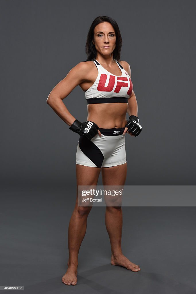 UFC women's strawweight Valerie Letourneau poses for a portrait during a UFC photo session at the Saskatoon Inn Conference Centre on August 20 2015...