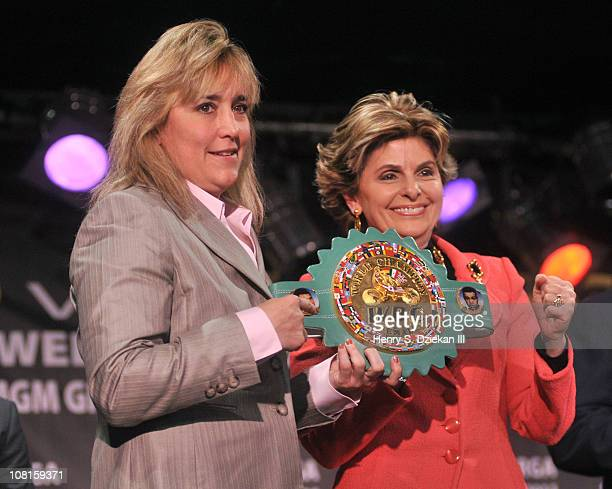 Women's Super Welterweight Champion Christy Martin and lawyer Gloria Allred attend the Bob Arum and Don King press conference to announce Miguel...