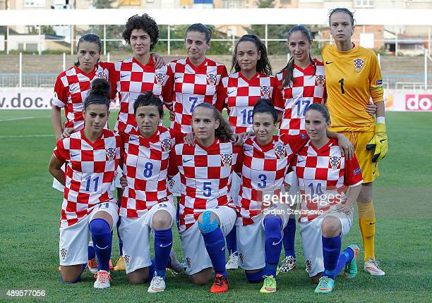 Women's team of Croatia from left Iva Landeka Leonarda Balog Maja Joscak Martina Salek Izabela Lojna and goalkeeper Doris Bacic Kristina Sundov...