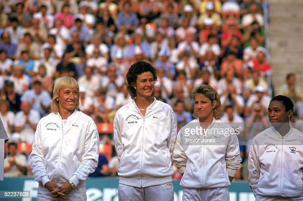 Women's Tennis team from left to right Martina Navratilova Pam Shriver Chris Evert and Zena Garrison line up on the court during the 1986 Federation...