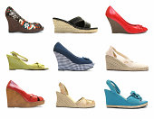 Women's wedge heels shoe collection (side view)