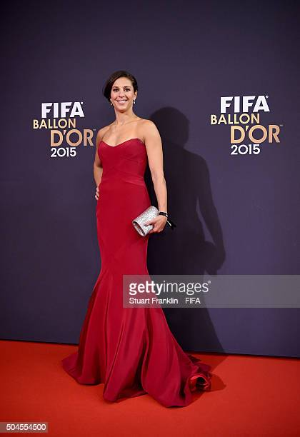Women's World Player of the Year nominee Carli Lloyd of the United States and Houston Dash arrives for the FIFA Ballon d'Or Gala 2015 at the...