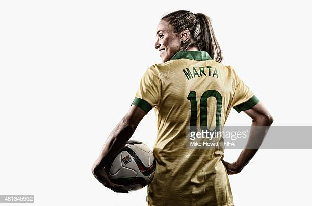 FIFA Women's World Player of the Year nominee Marta Vieira da Silva of Brazil poses for a portrait prior to the FIFA Ballon d'Or Gala 2014 at the...