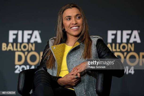 Women's World Player of the Year nominee Marta Vieira da Silva of Brazil and Tyreso FF attends a press conference prior to the FIFA Ballon d'Or Gala...