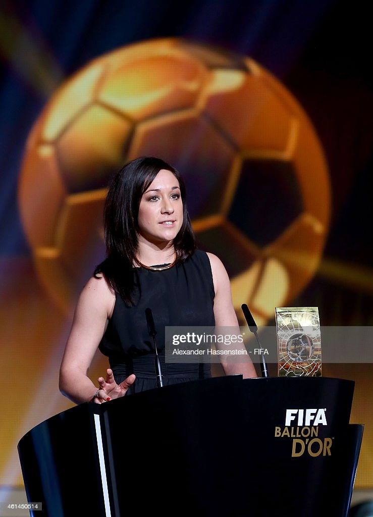 Women's World Player of the Year winner Nadine Kessler of Germany and VfL Wolfsburg accepts her award during the FIFA Ballon d'Or Gala 2014 at the Kongresshaus on January 12, 2015 in Zurich, Switzerland.