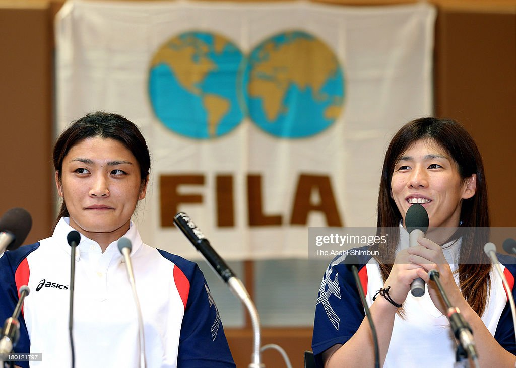 Women's Wrestling gold medalists <a gi-track='captionPersonalityLinkClicked' href=/galleries/search?phrase=Kaori+Icho&family=editorial&specificpeople=2374687 ng-click='$event.stopPropagation()'>Kaori Icho</a> (L) and <a gi-track='captionPersonalityLinkClicked' href=/galleries/search?phrase=Saori+Yoshida&family=editorial&specificpeople=2374710 ng-click='$event.stopPropagation()'>Saori Yoshida</a> attend a press conference as wrestling was voted to be included in the 2020 Summer Olympic Games on September 9, 2013 in Tokyo, Japan.