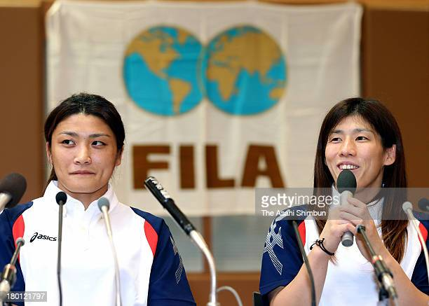 Women's Wrestling gold medalists Kaori Icho and Saori Yoshida attend a press conference as wrestling was voted to be included in the 2020 Summer...