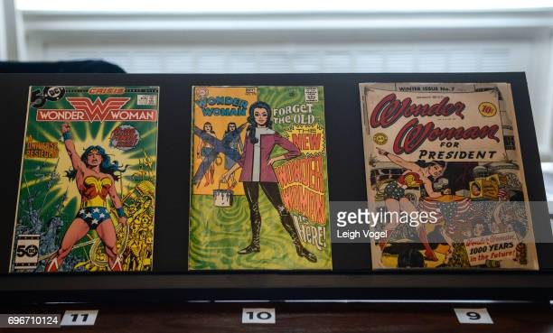 Wonder Woman comic books are seen during the 'Library of Awesome' popup exhibit at The Library of Congress on June 16 2017 in Washington DC