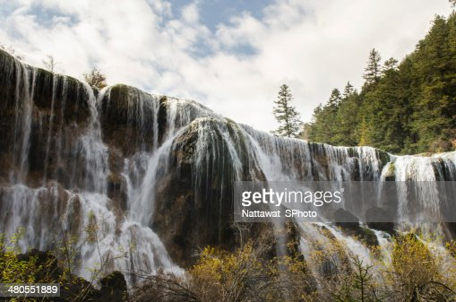 wonderful autumn in Huanglong national park : Stock Photo