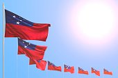 wonderful many Samoa flags placed diagonal with soft focus and free place for your text - any holiday flag 3d illustration