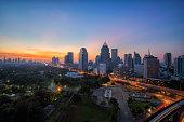 Wonderful morning period cityscape at Lumphini Park, Bangkok, Thailand