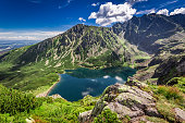 Wonderful sunrise at Czarny Staw Gasienicowy in summer, Tatras