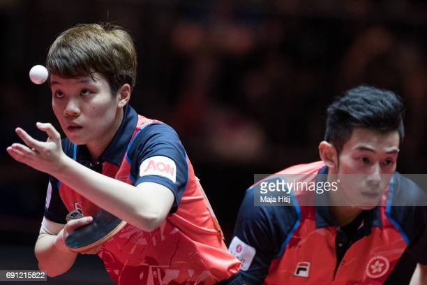 Wong Chun Ting of Hong Kong and Hoi Kem Doo of Hong Kong in action during Mixed Doubles quarterfinal at Messe Duesseldorf on June 1 2017 in...