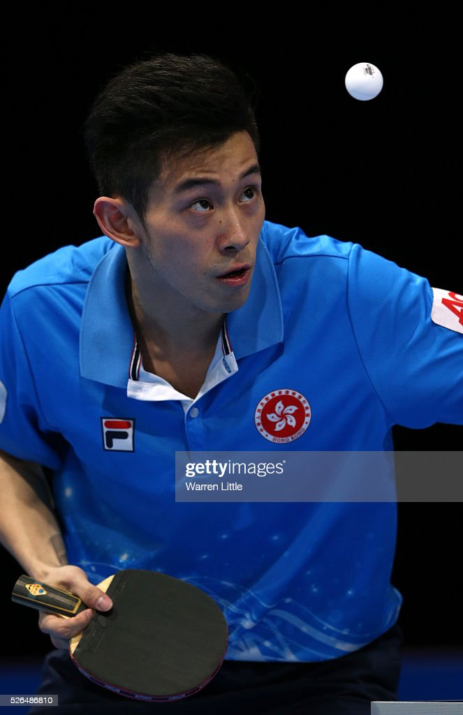 Wong Chun Ting of Hong Kong in action against Gao Ning of Singapore during the Men's singles bronze medal play-off for the Nakheel Table Tennis Asian Cup 2016 at Dubai World Trade Centre on April 30, 2016 in Dubai, United Arab Emirates.