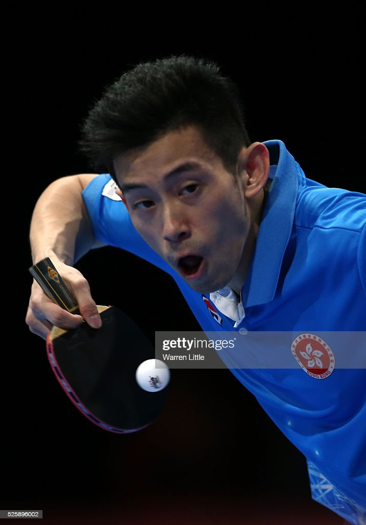 Wong Chun Ting of Hong Kong in action during the Men's Singles Challenge against Chuang Chih-Yuan of Chinese Taipei during day two of the Nakheel Table Tennis Asian Cup 2016 at Dubai World Trade Centre on April 29, 2016 in Dubai, United Arab Emirates.