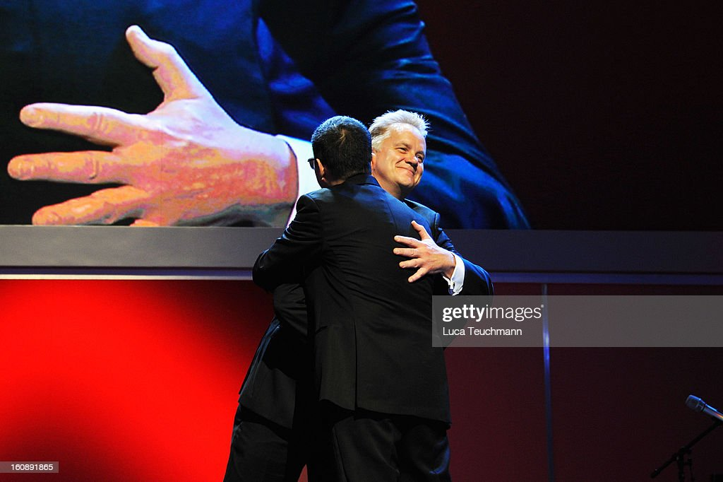 Wong Kar Wai (L) and jury member <a gi-track='captionPersonalityLinkClicked' href=/galleries/search?phrase=Tim+Robbins&family=editorial&specificpeople=182439 ng-click='$event.stopPropagation()'>Tim Robbins</a> during the Opening Ceremony of the 63rd Berlinale International Film Festival at the Berlinale Palast on February 7, 2013 in Berlin, Germany.