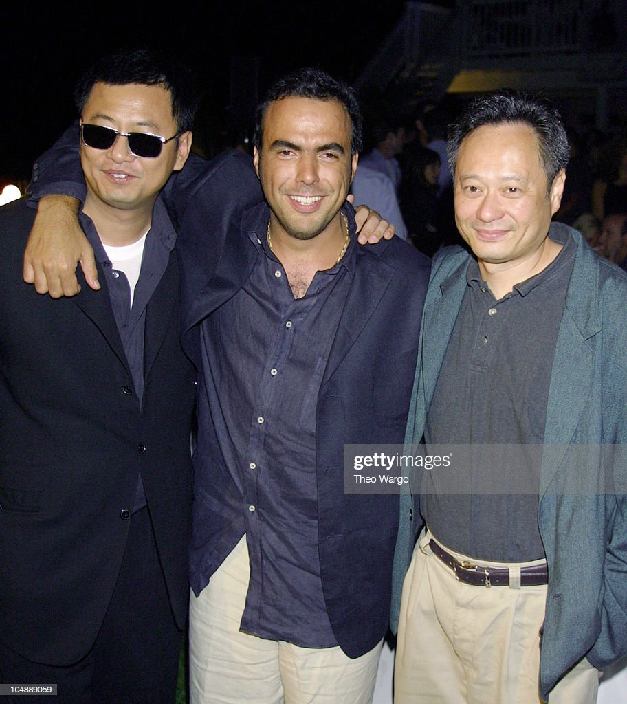 <a gi-track='captionPersonalityLinkClicked' href=/galleries/search?phrase=Wong+Kar-Wai&family=editorial&specificpeople=607048 ng-click='$event.stopPropagation()'>Wong Kar-Wai</a>, Alejandro Gonzalez, and <a gi-track='captionPersonalityLinkClicked' href=/galleries/search?phrase=Ang+Lee&family=editorial&specificpeople=215104 ng-click='$event.stopPropagation()'>Ang Lee</a> during BMW's 'The Hire' screening at The Stuff Hamptons House in South Hampton, NY in Southhampton, New York, United States.