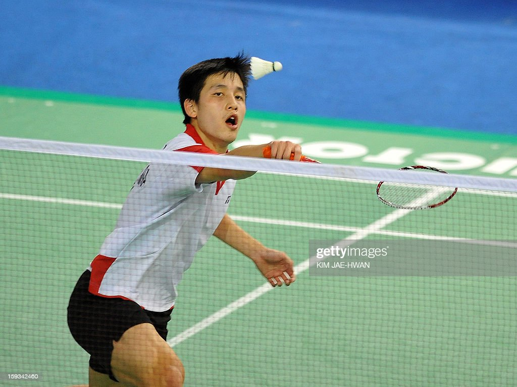 Wong Wing Ki of Hong Kong plays a shot during his men's singles badminton match against Lee Chong Wei of Malaysia during the semi-finals of the Korea Open at Seoul on January 12, 2013. Lee Chong Wei won the match 21-11, 21-18. AFP PHOTO / KIM JAE-HWAN