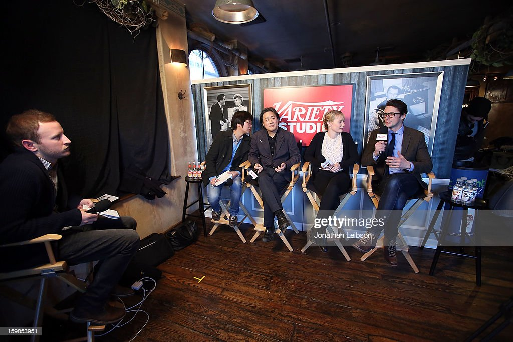 Wonjo Jeong, Park Chan-Wook, Mia Wasikowska and Matthew Goode attend Day 3 of the Variety Studio At 2013 Sundance Film Festival on January 21, 2013 in Park City, Utah.