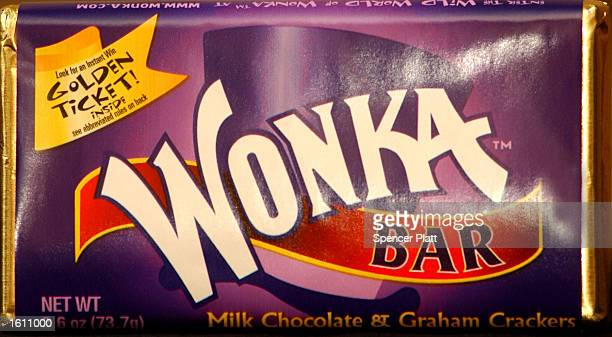 Wonka chocolate bar produced for the 30th anniversary of the film 'Willy Wonka The Chocolate Factory' is on display August 27 2001 at the Warner Bros...