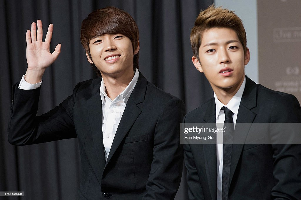 Woo Hyun and Sung Yeol of South Korean boy band Infinite during the 2013 Infinite 1st World Tour 'One Great Step' Press Conference on June 10, 2013 in Seoul, South Korea.