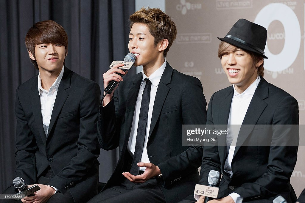 Woo Hyun, Sung Yeol and Dong Woo of South Korean boy band Infinite during the 2013 Infinite 1st World Tour 'One Great Step' Press Conference on June 10, 2013 in Seoul, South Korea.